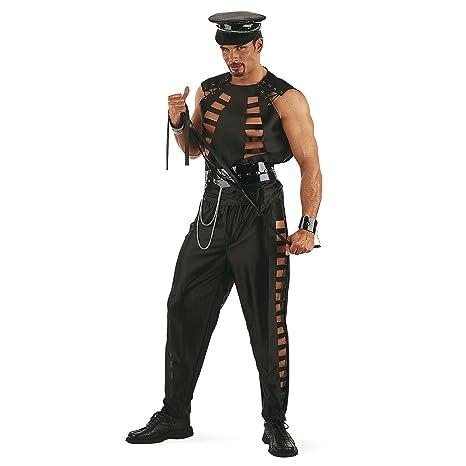 SM Policía Fiesta Disfraz hombre Carnaval Soltero 6 piezas) Negro ...