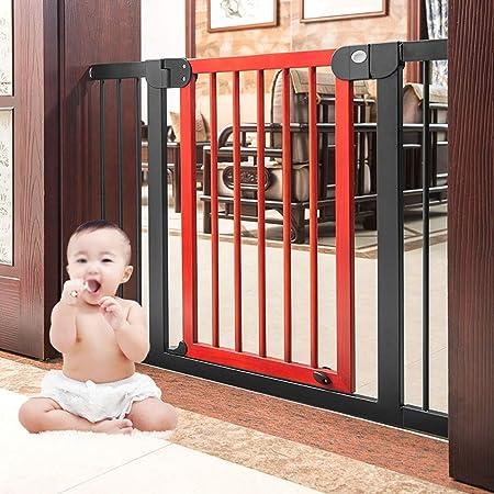 Huo Puertas de Seguridad para Bebés de Madera para Escaleras Interiores Puerta de La Casa Puerta para Mascotas Montada A Presión Cierre Fácil: Amazon.es: Hogar