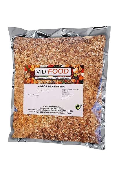 Copos de Centeno - 1 kg - Cereales de Salvado Nutritivo Natural - Apto para Veganos - Alto contenido en Fibra