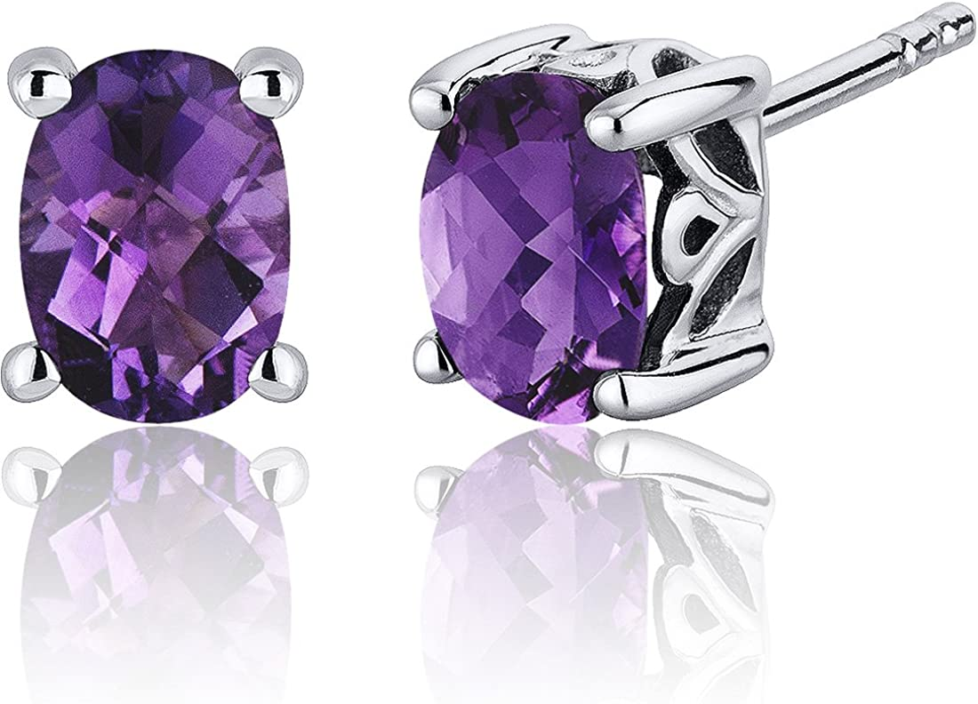 Real Gemstones  Faceted Amethyst Earring Solid Silver Purple Amethyst Real Gemstones Earring daughter jewelry top item
