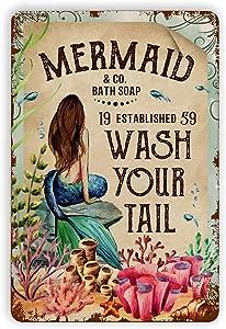 Vintage Retro Metal Tin Signs-Mermaid and Co Bath Soap Decor Suitable for Bars, Cafes, Home Walls, Decorative Art Appreciation,Vintage Home Decor 8 X 12 inch