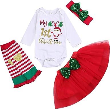 Newborn Baby Girls Christmas Outfits My First Christmas Romper Top Tutu Skirts Leg Warmers Headband Set 0-24M