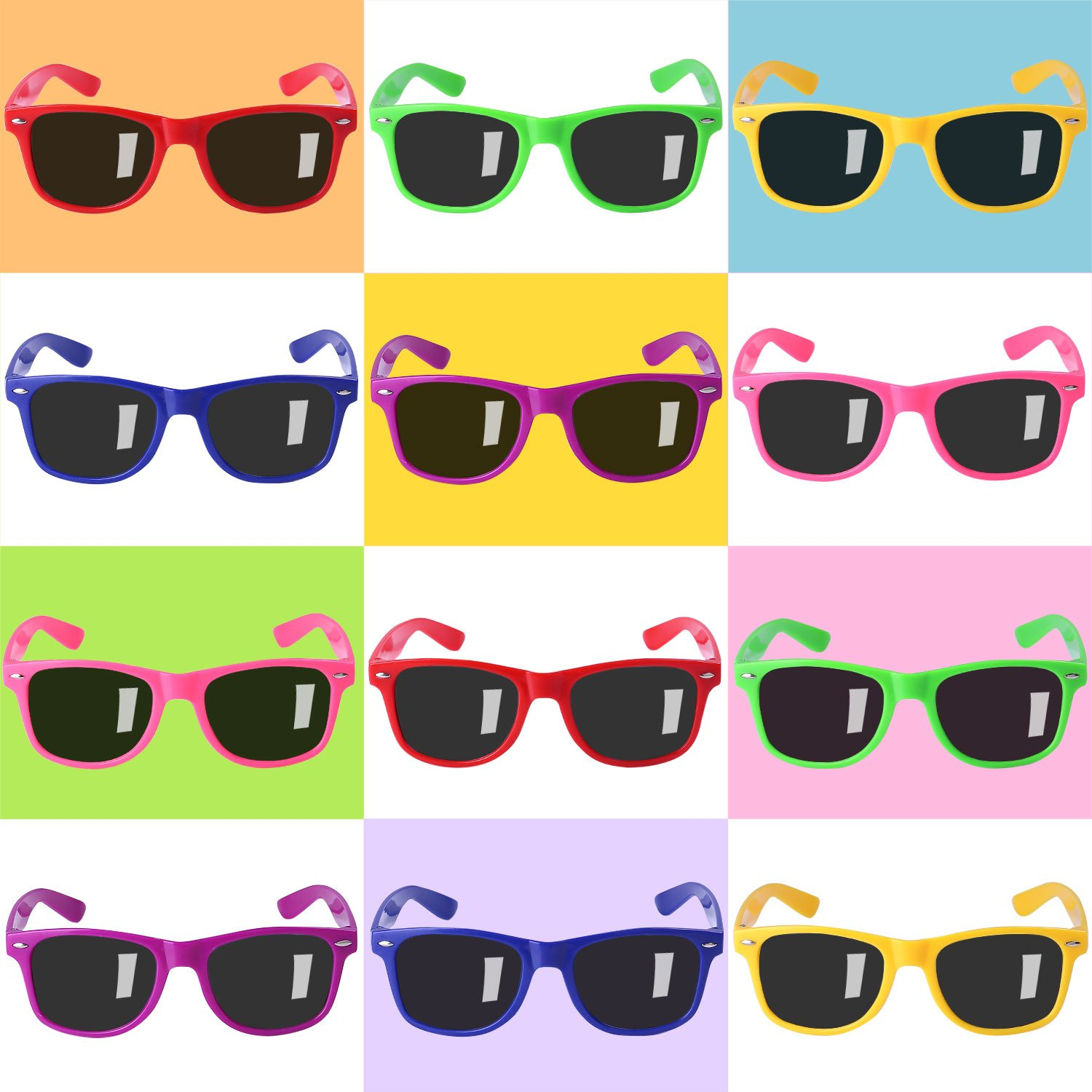 12 Pack Sunglasses for Teenagers and Adults in Bulk with UV400 Eye Protection, Neon Sunglasses for Boys and Girls, Teens and Average Size Adults, Fun Gifts, Goody Bag Fillers for Party Favors