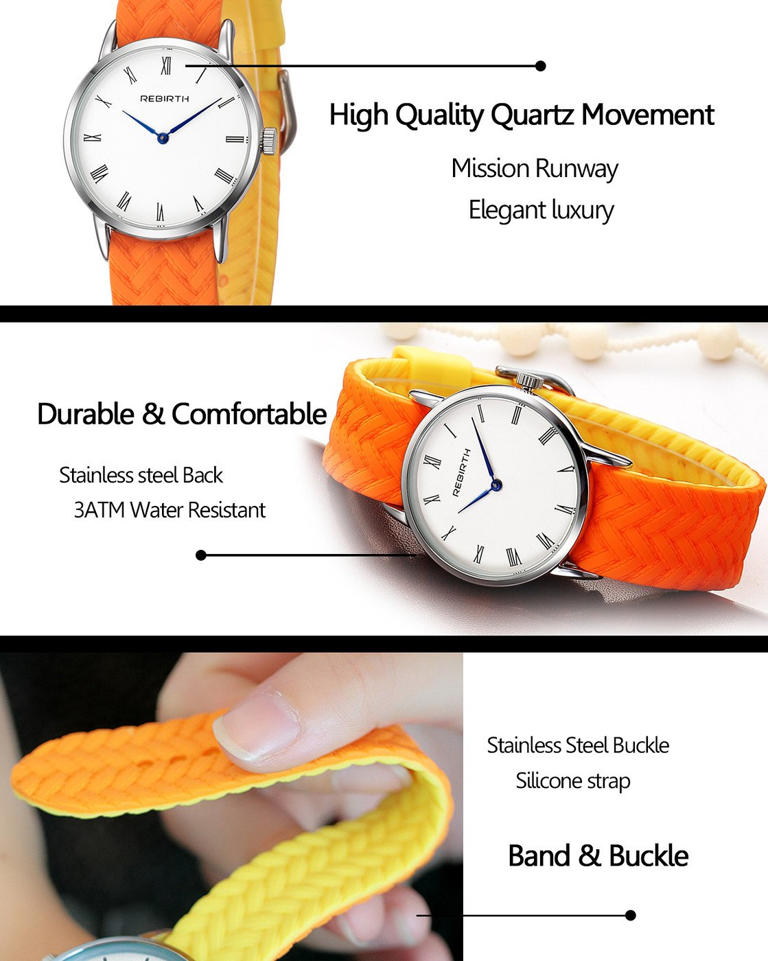 Top Plaza Unisex Casual Simple Silicone Strap Analog Quartz Watch Unique Reversible Doulbe Color Band Japanese Quartz Movement Waterproof Watch(Black and White) by Top Plaza (Image #6)