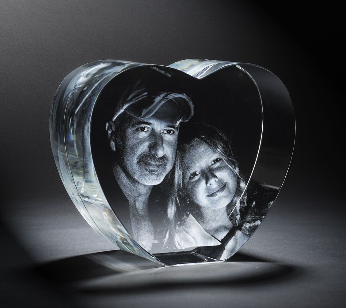 Personalized Custom 3d Photo Etched Engraving Crystal Loving Heart Gift (Birthday Gift, Anniversary Gift, Wedding Gift, Corporate Gift,Mother's Day Gift , Valentine's day gift , Christmas Gift) by 3d Laser Gifts