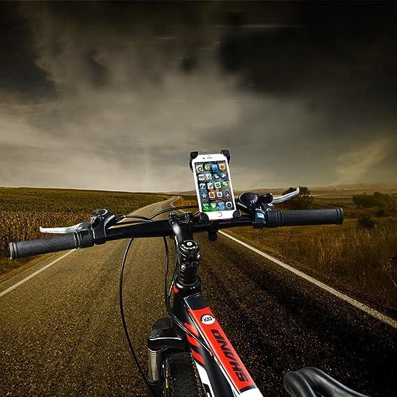 Soporte móvil moto, soporte móvil bicicleta, soporte teléfono bicicleta, el más seguro del mercado y ultra estable con 4 esquinas cerradas de silicona ...