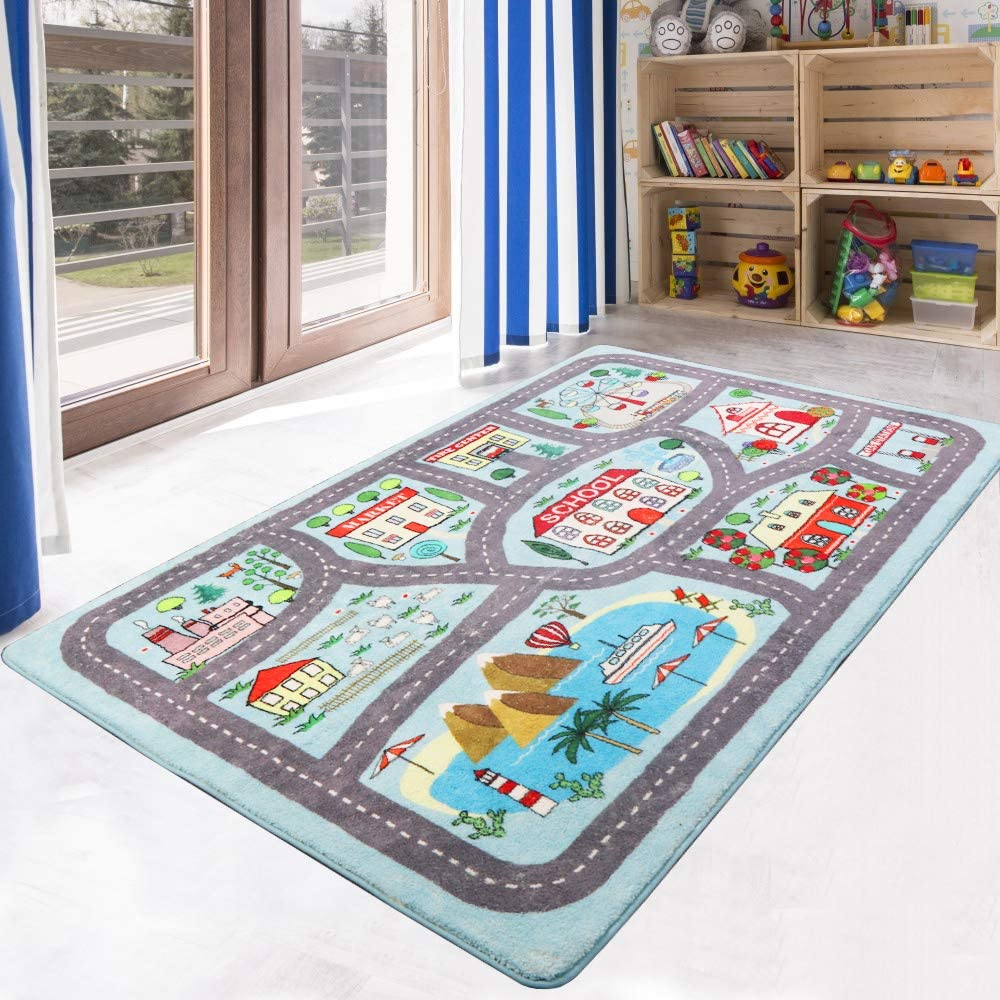 LIVEBOX Play Mat, Faux Wool Kids Road Traffic Area Rugs 4' x 6' Non-Slip Childrens Crawling Carpet Colorful Educational & Fun Throw Rug for Living Room Bedroom Playroom Nursery Decor Best Shower Gift