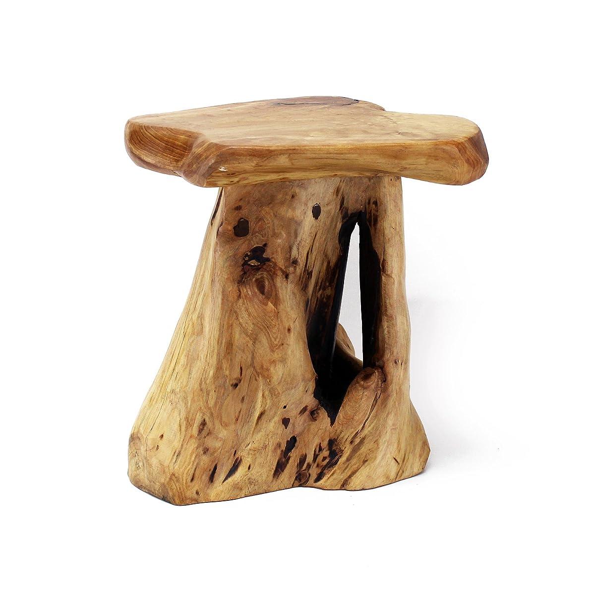 WELLAND Mushroom Seat Stool, Cedar Wood Flower Root/Stand