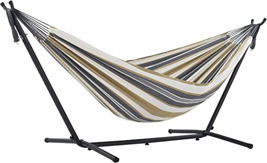 Vivere UHSDO8-25 - Hamaca con soporte incluido, multicolor, 250 cm, doble, diseño Luna del Desierto: Amazon.es: Jardín