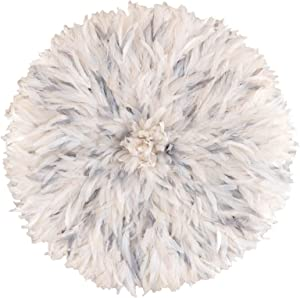 Zeal Living Authentic African Juju Hat - White and Grey Flecked (29 inch Diameter)