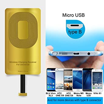 AmyZone Fast QI Receiver Type B for HTC ONE Е9/Е9+/X9/Desire 700/DESIRE  10-Meizu M5/M5 Note/M5c/U20-Note/U10 Ultra-Slim 5w 1000mAh Wireless  Charging
