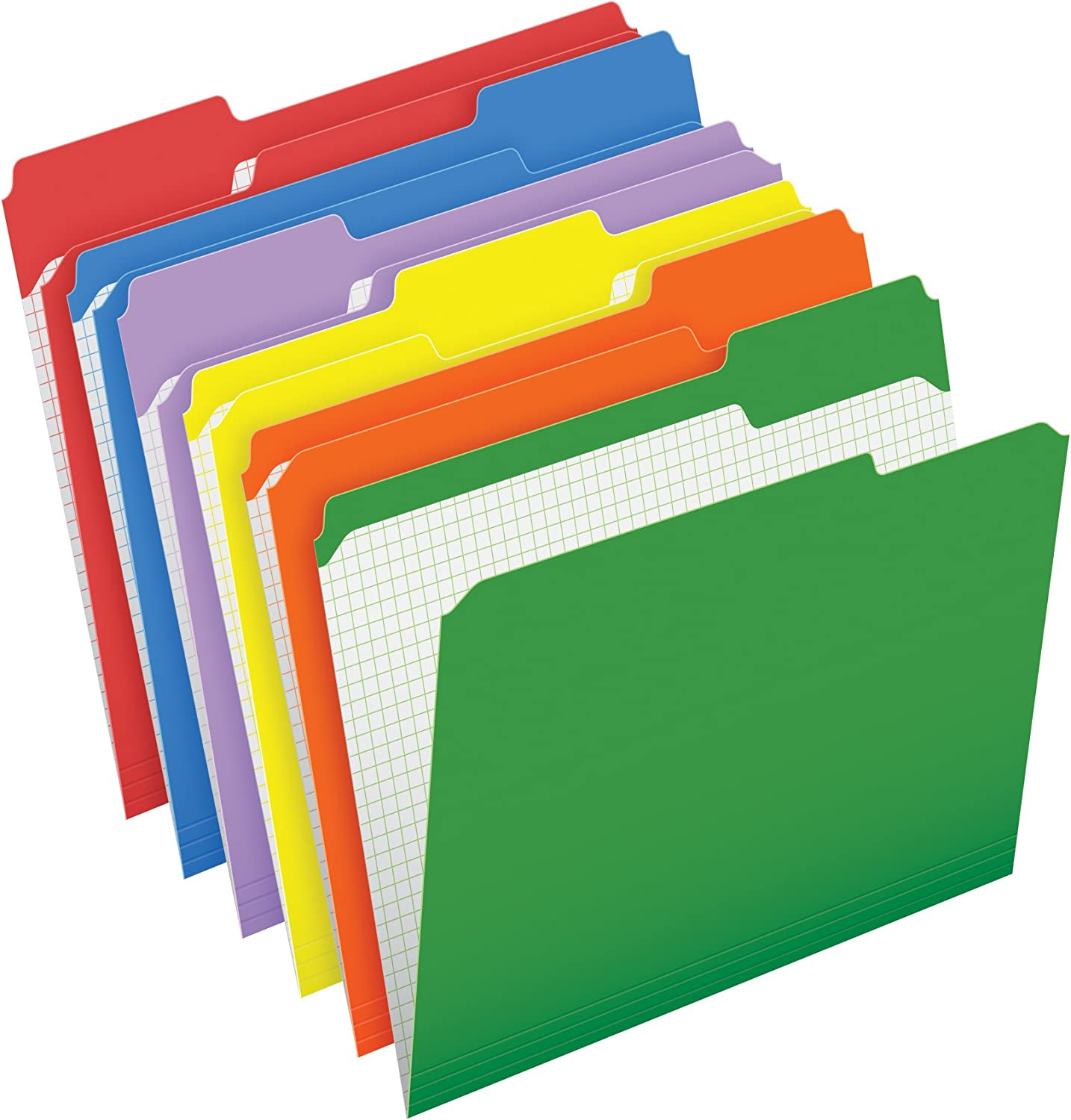 Pendaflex Color File Folders with Interior Grid, Letter Size, Assorted Colors, 1/3 Cut, 100/BX (R152 1/3 ASST) : Colored File Folders : Office Products