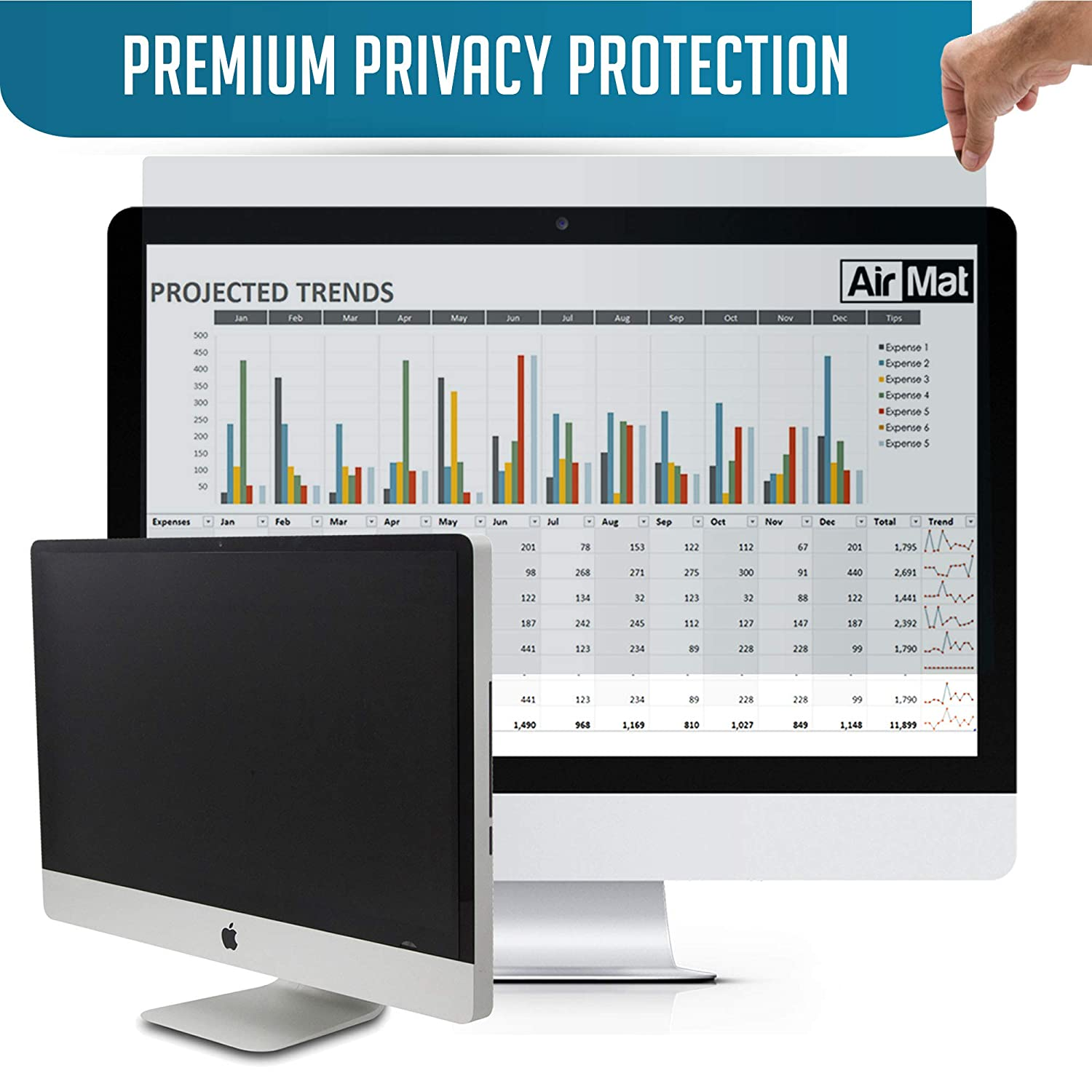 21.5 inch Removable Computer Privacy Screen Filter for iMac 4K /& Widescreen Display Monitors by AirMat Premium Anti Glare Protection for Data Confidentiality Easy On//Off