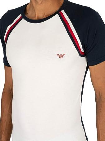 Emporio Armani de los Hombres Camiseta Crew Lounge, Blanco