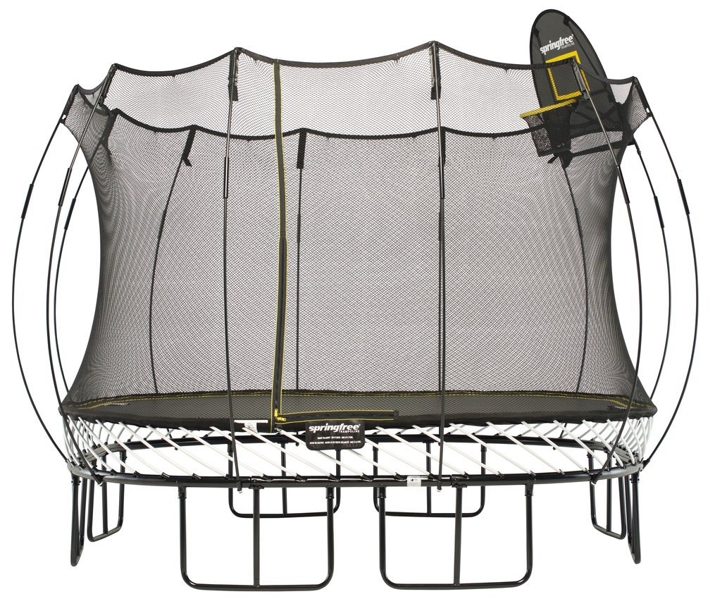Springfree Trampoline - 11ft Large Square Trampoline With Basketball Hoop and Ladder by Springfree Trampoline