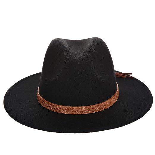 2a0810adafe 2019 Winter Elegant Women Felt Solid Fedora Hat with Leather Band Wide Flat  Brim Jazz Hats