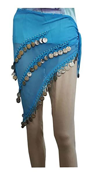 10ca66dcb KVR Valentine's Day Belly dance ancient Arabian belt hip wrap coin  georgette women fancy designer scarf