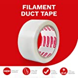 XFasten Filament Duct Tape, Transparent, 2 Inches x 30 Yards, Extreme Fiberglass Reinforced Cross Strapping Tape