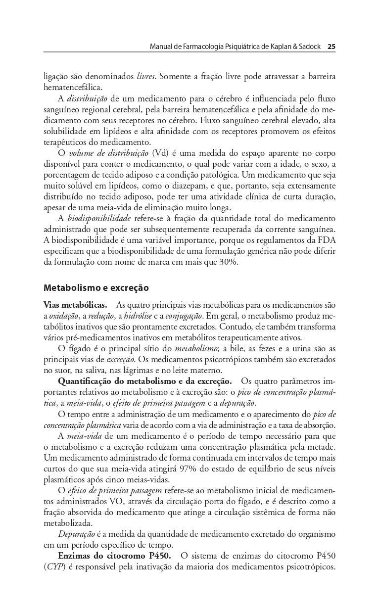 Manual de Farmacologia Psiquiátrica de Kaplan & Sadock Em ...