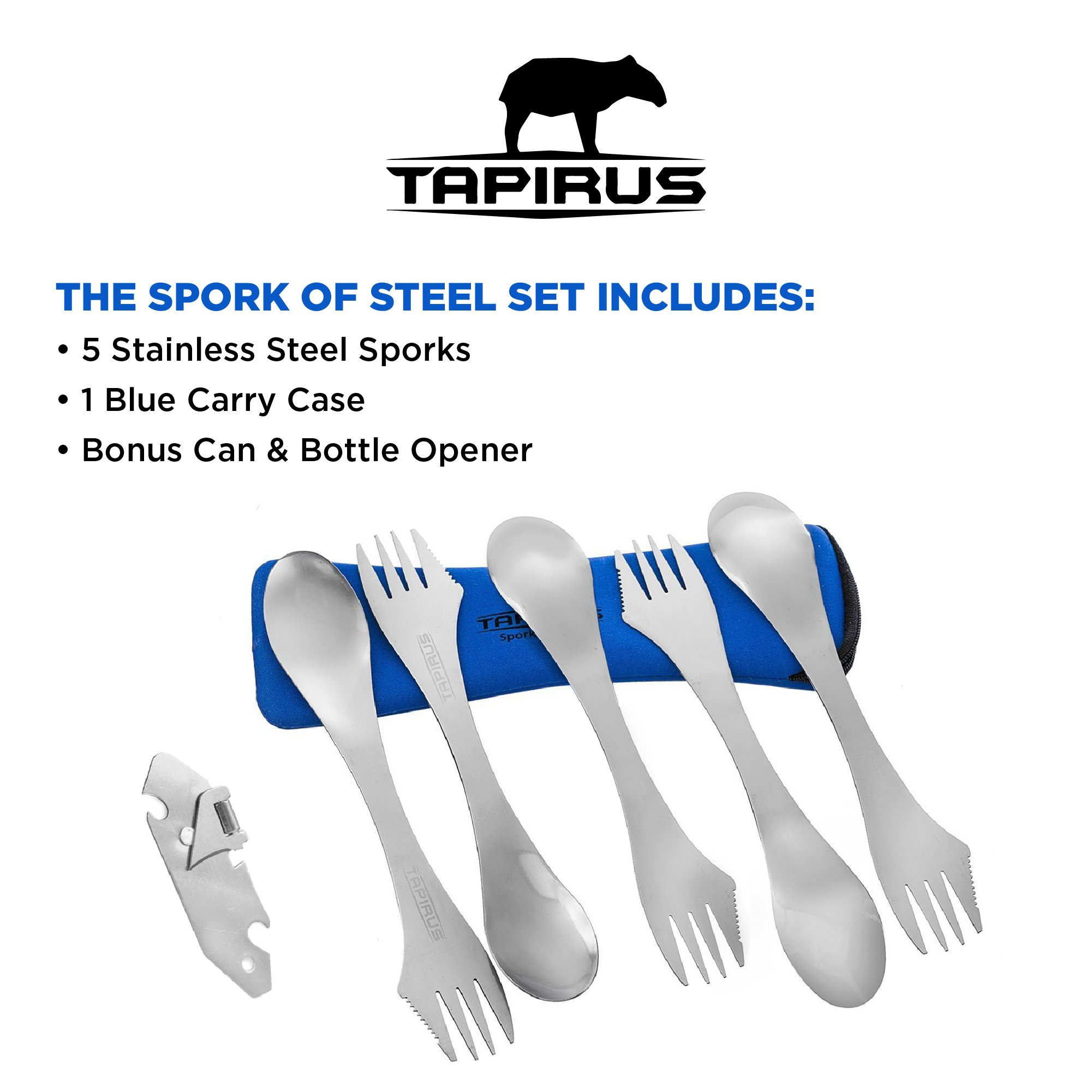 Tapirus 5 Spork Of Steel Utensils Set | Durable & Rust Proof Stainless Steel | Spoon, Fork & Knife Flatware | For Camping, Fishing, Hunting & Outdoor Activities | With Bottle Opener & Carrying Case by Tapirus (Image #5)