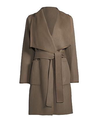 dc678cffc88 Amazon.com  Diane von Furstenberg Shellie Khaki Wool Wrap Coat  Clothing