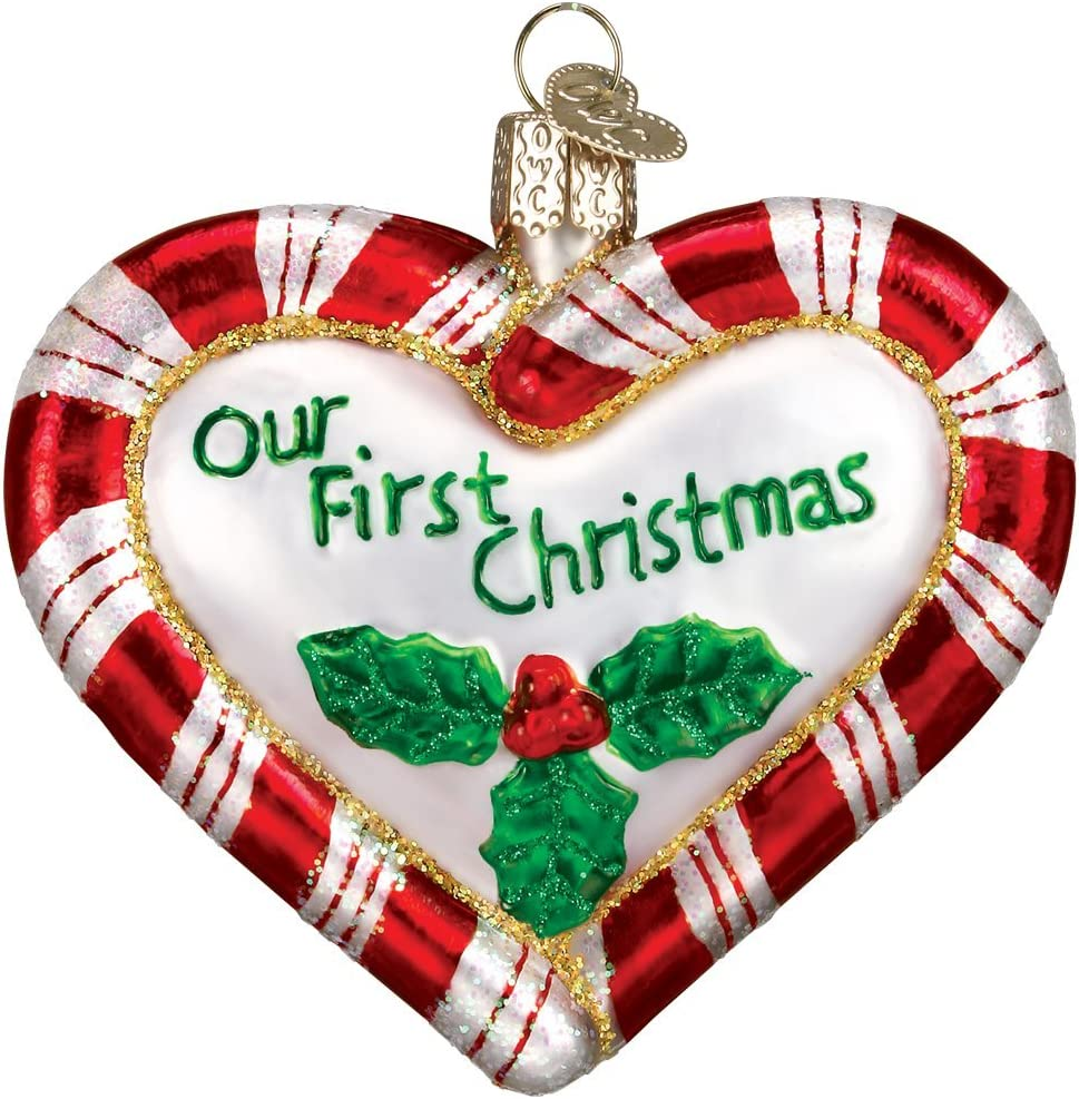 Old World Christmas Candy Glass Blown Ornaments for Christmas Tree Peppermint Heart