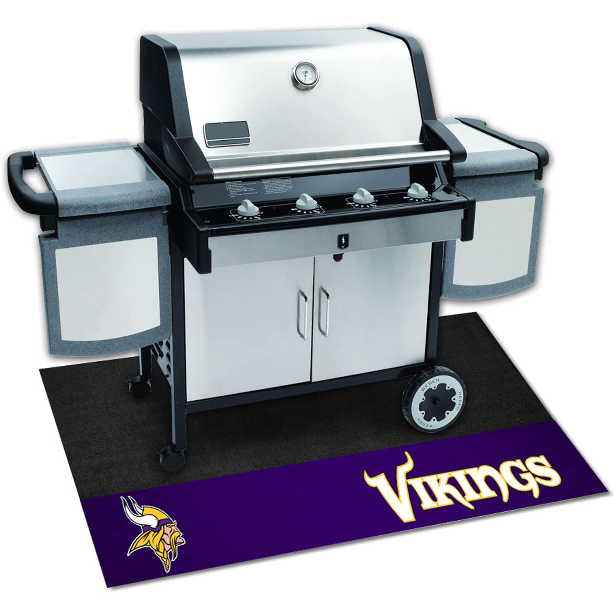AM 42 X 26 Inch Vikings Grill Mat, Football Themed Outdoor Deck Patio Non Curling Area Rug Carpet Sports Patterned, Team Color Logo Fan Merchandise Athletic Spirit Purple Black Gold, Vinyl