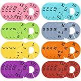 Caydo 40 Pieces 8 Colors Clothing Size Dividers Round Hangers Closet Dividers, Size XXS to XXXL