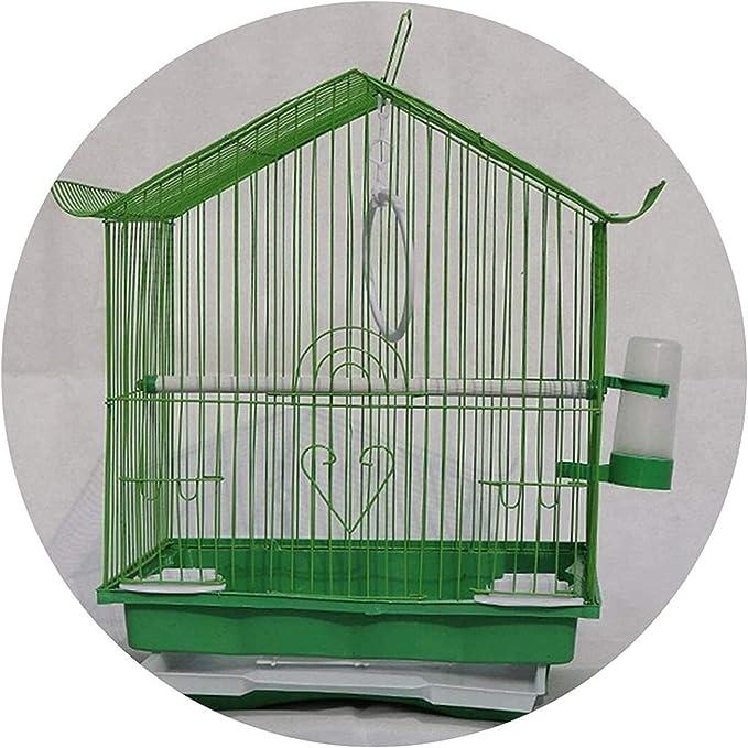 Jaula dpájaros duradera y ecológica, Loro jaula pájaro jaula casero hierro pequeño pigeon jaula verde luz salga a la jaula de pájaros loro de loro cría terrario suministros mascotas cuidado de las ave