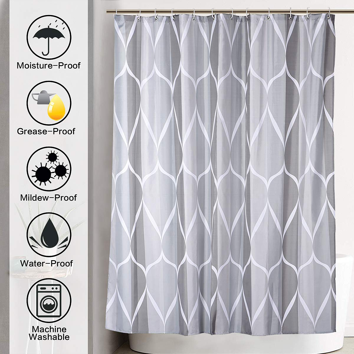 JRing Shower Curtain Polyester Fabric Waterproof Machine Washable with 12 Hooks 72x72 Inch by JRing (Image #2)