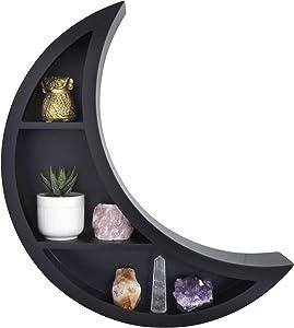 Crescent Moon Wall Shelf, Black - Unique, Moon Shaped Floating Shelves for Crystals- Bohemian Crystal, Essential Oil Storage Shelf Display Rack- Boho Wall Decor for Bedroom, Dorm, Living Room, Nursery