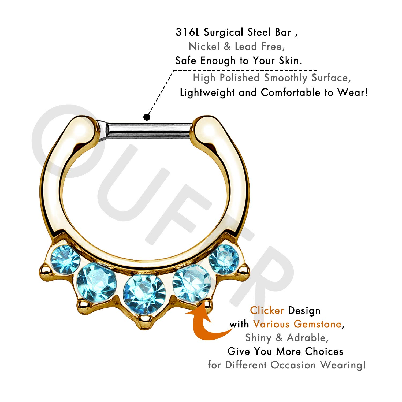 OUFER 16G Stainless Steel Daith Earring Hoop CZ Paved Septum Clicker Septum Rings