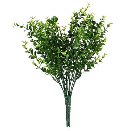 2e13caf9380c09 2x Plantes Artificielles de Petites Feuilles Eucalyptus Herbe pour  Décoration de Maison Jardin