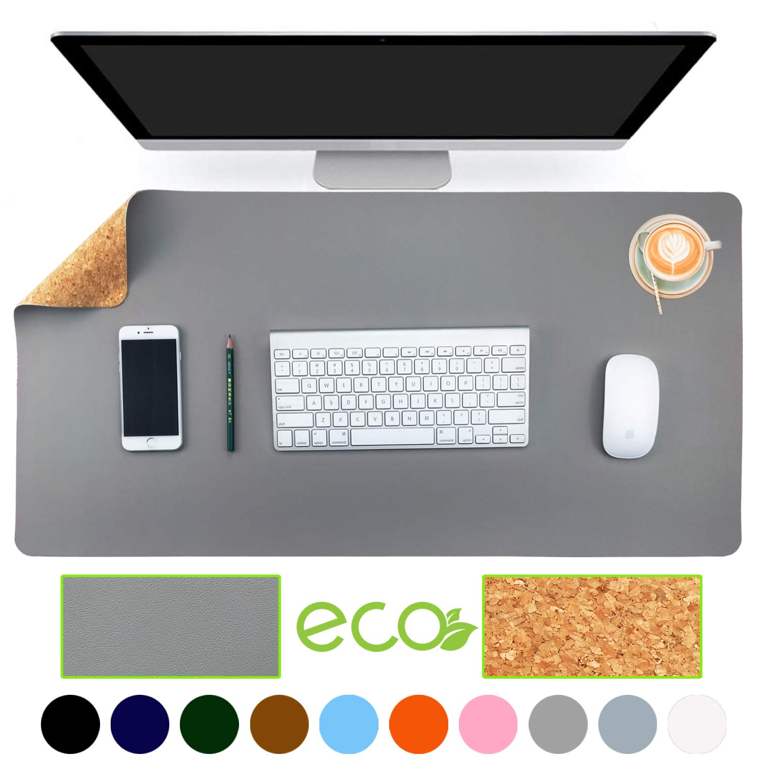 "Aothia Eco-Friendly Natural Cork & Leather Double-Sided Office Desk Mat 31.5"" x 15.7"" Mouse Pad Smooth Surface Soft Easy Clean Waterproof PU Leather Desk Protector for Office/Home Gaming (Gray)"