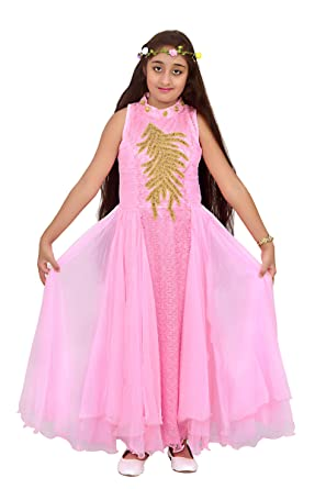 251bf9d33d01 Adhira Creations Girls Pink Barbie Frock Party Wear Dress (10-12 Years)