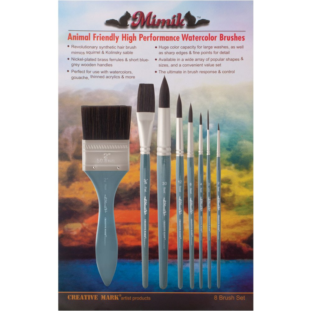 Creative Mark Mimik High Performance Professional Artist Synthetic Squirrel Hair Watercolor Brush- Value Set of 8 Assorted Sizes