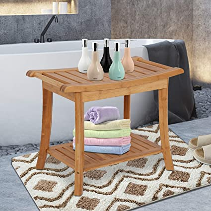 Amazon Com Bamboo Shower Bench Stool With Storage 2 Tier Shower Seat Chair For Bathroom Shower Bench Chair Bath Stool Health Personal Care