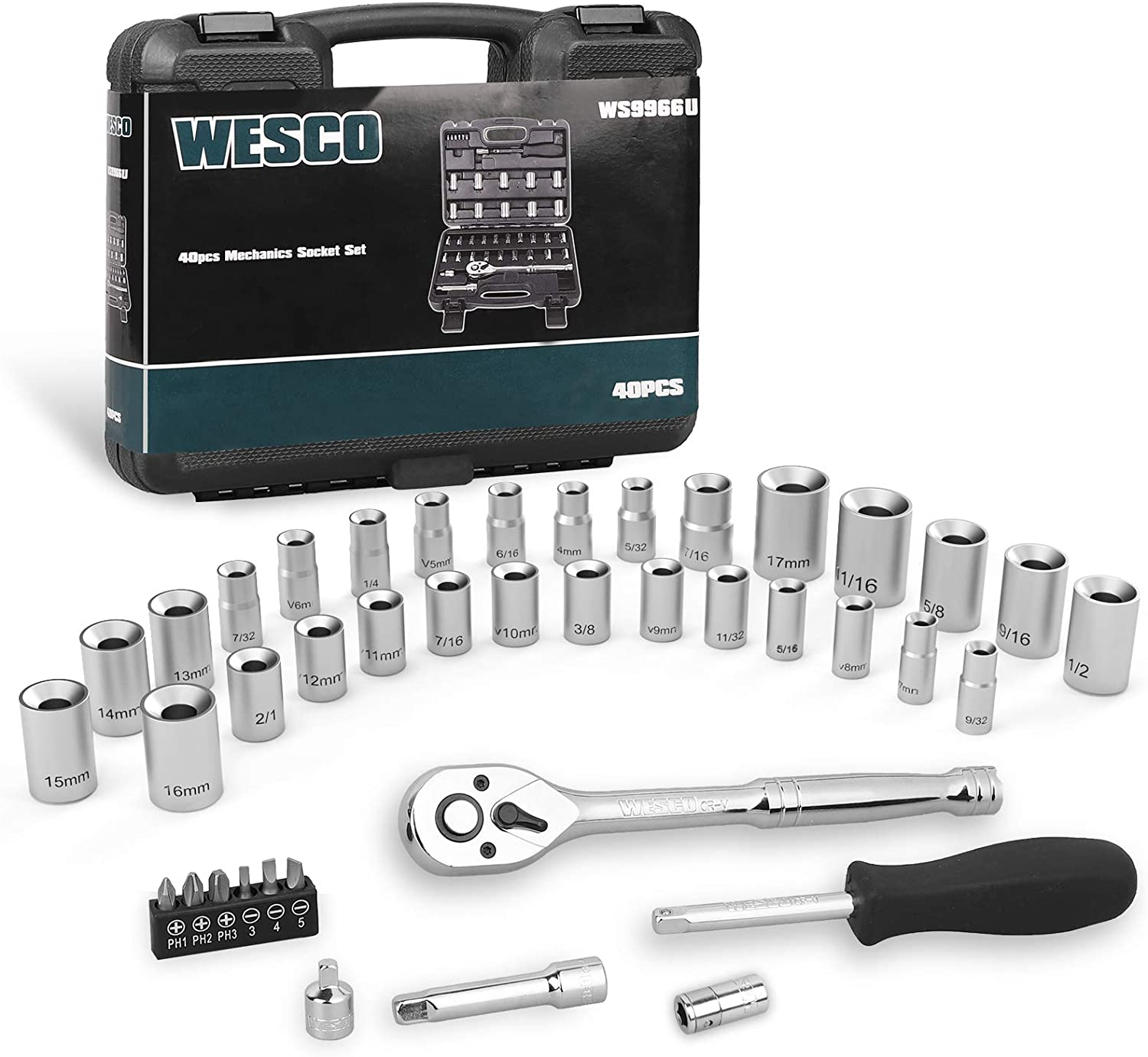 Wesco Socket Set 40 Piece 1 4 And 3 8 Drive Socket Wrench Set With Quick Release Ratchet Spinner Handle Adaptor Screwdriver Set Extension Metric And Sae For Auto Repairing Household Ws9966u Home Improvement