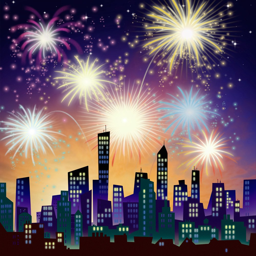 4th of July Backdrop – City Celebration with fireworks – 10 x 10 ft。 – 100 %シームレスなファブリックの写真   B00NX50IMY