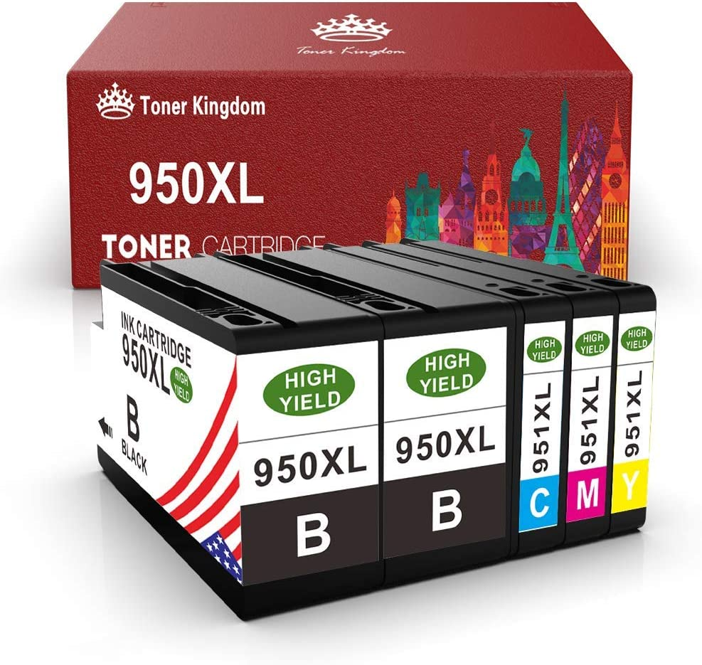 Toner Kingdom Compatible Ink Cartridge Replacement for HP 950 951 950XL 951XL Work with HP OfficeJet pro 8600 8100 8610 8620 8630 8640 (Black Cyan Magenta Yellow)