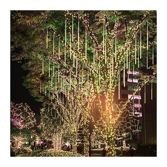 BlueFire Upgraded 50cm 10 Tubes 540 LED Meteor Shower Rain Lights, Drop/Icicle Snow Falling Raindrop Waterproof Cascading Lights for Wedding Xmas New Year Party Tree Decoration (Warm White) - 【SECURITY】 IP65 waterproof low voltage UL Certification plug-in transformer, which can prevent users from electric shock, short circuit causing fires. (NOTE: Please connect the two white arrows on the lead connector face to face, otherwise it won't light up. Refer to the last picture) 【BRIGHTNESS】SUPER BRIGHT SMD2835 LED chips (instead of cheap dim 3528 LED chips) provide 360 degree shining angles, which makes the falling rain lights MUCH BRIGHTER and BEAUTIFUL. The light of every bulb turns on and out one by one in sequence and quickly just like meteor shower or falling snow in the night sky. 【HELICAL TUBE】 Imported transparent PC helical tube is the LATEST tube design, which has good transparency and makes the meteor shower lights more GORGEOUS and UNIQUE. Transparent PC material is corrosion resistant, cost resistant, aging resistant, more durable; free from time and space constraints. Low power consumption and energy saving. - patio, outdoor-lights, outdoor-decor - 711FMO9m9dL. SS570  -