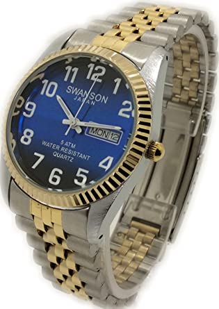 Reloj De Hombre Swanson Japan Watch Mens Tow-Toene Day-Date Blue Dial With