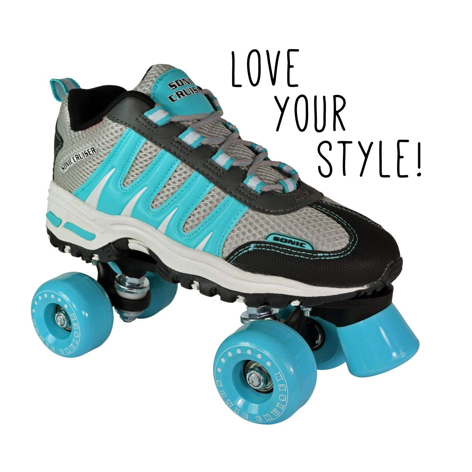Pacer Roller Skates for Adults | Sonic Cruiser Unisex Mens and Womens Rollerskates for Girls and Ladies - Quad Derby Skates for an Adult Man or Woman - Indoor/Outdoor (Teal Men 6/Women 7)