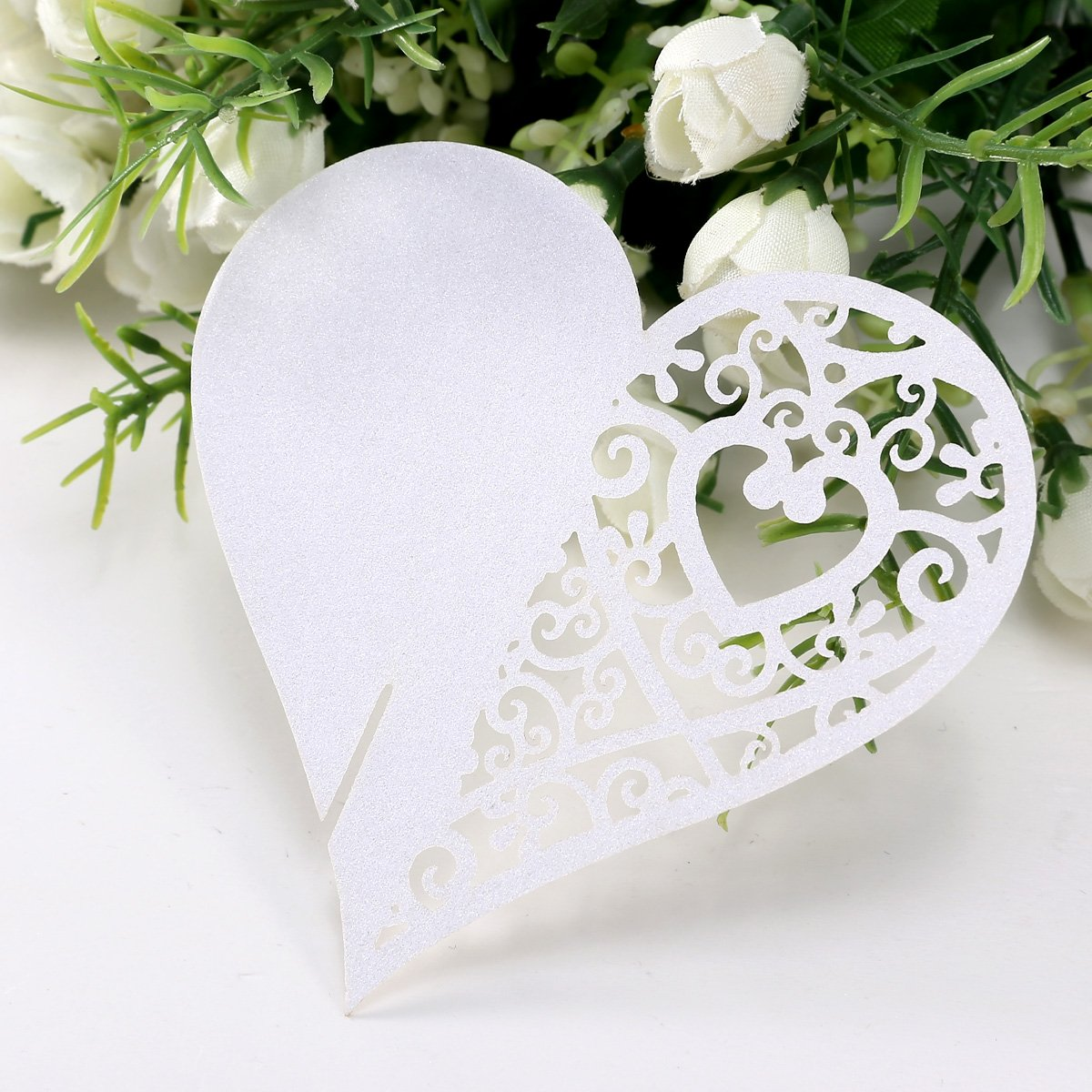 X Carte De Verre Porte Nom Marque Place Coeur Blanc Mariage Fête - Porte nom mariage