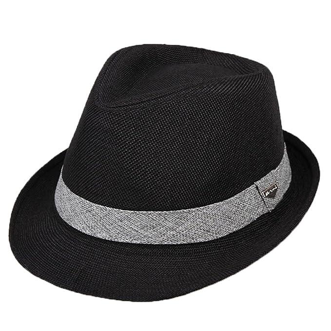 Cappello Trilby Cappelli Uomini Ragazzi Paglia Primavera Estate Sole Nero f415105ae057