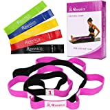 Reonico Stretch Strap with Loops Stretching Strap and Resistance Bands Set of 5 Exercise Bands for Physical Therapy and Yoga
