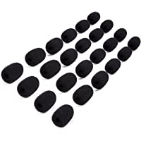 Mini Microphone Windscreens – 24-Pack Microphone Foam Cover for Lapel, Lavalier, and Headset Microphones, Black