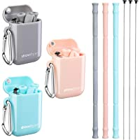 StrawExpert 3 Pack Foldable Silicone Reusable Straws with Travel Case & Keychain & Cleaning Brush,Long Portable Drinking Collapsible Straw,BPA Free,Eco Friendly, (Gray,Pink,Blue)