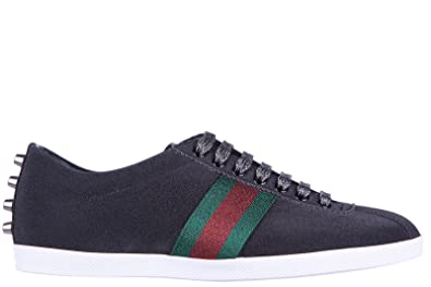 e696422684c Gucci Men s Shoes Leather Trainers Sneakers Glitter Studs Web Black UK Size  9.5 419712 KW040 1074