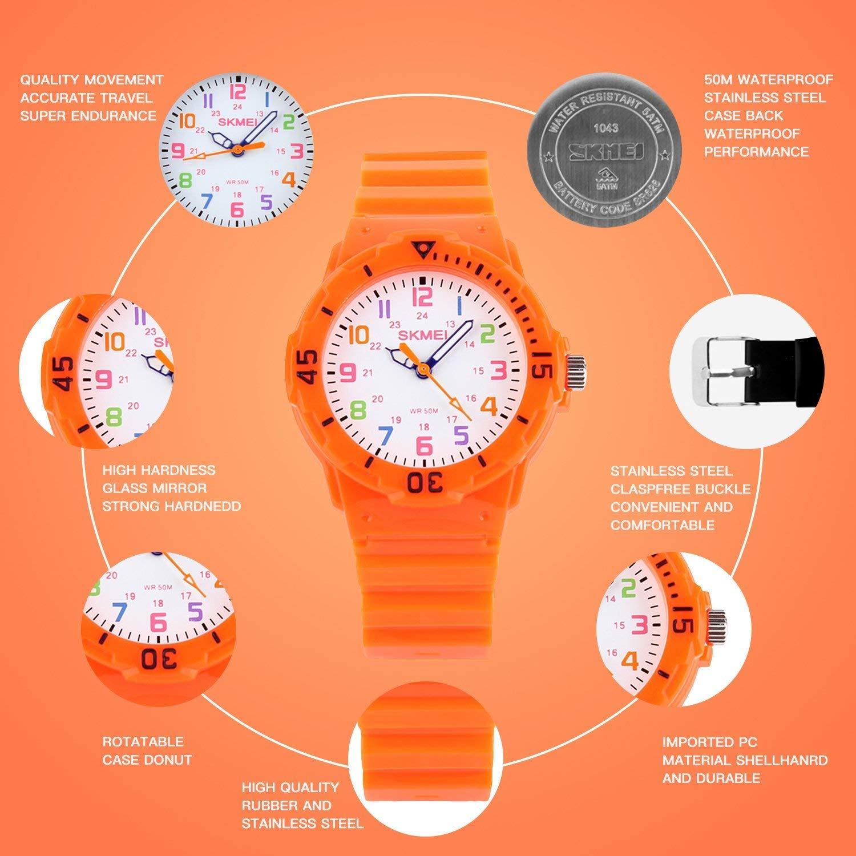 Reloj analógico de Cuarzo para niños, Reloj de Pulsera para Profesor, Dos Modos de Pantalla, números Coloridos con Correa de Poliuretano, 50 m, ...